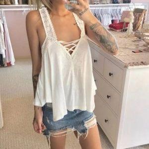 Forever 21 Tops - Forever 21 White Crochet Tank Top V Boho